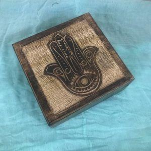 Jewelry - Hamsa Wooden Jewelry Storage Box